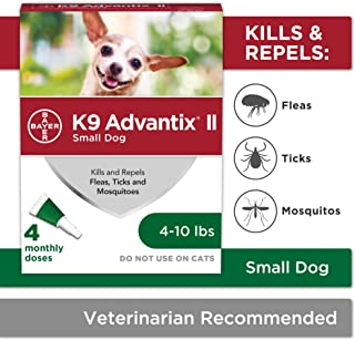 Bayer K9 Advantix II Flea, Tick and Mosquito Prevention for Small Dogs, 4-10 lbs