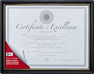 Dax 8.5x11 Classic Black and Gold Document Frame, Wall Display