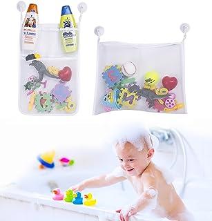 Boxiki kids Bath Toys Organizer & Toy Holder | Mesh Shower Caddy Organizer Set with 4 Anti-Slip Suction Cups | Bathroom Shower Organizer for Toys, Shampoo & Soap | Bath Toy Storage & Tub Organizer