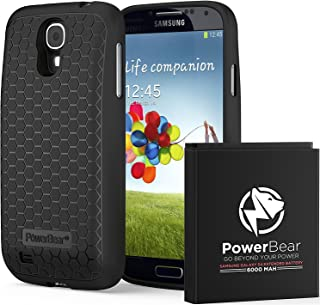 PowerBear Samsung Galaxy S4 Extended Battery [6000 mAh] with Cover & Case [230% Battery]