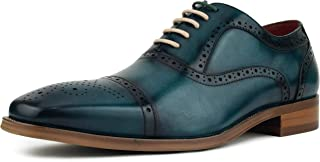 Asher Green AG114 - Men`s Dress Shoes - Genuine Leather Cap Toe Oxfords, Lace Up Mens Dress Shoes - Unique Decorations and Broguing