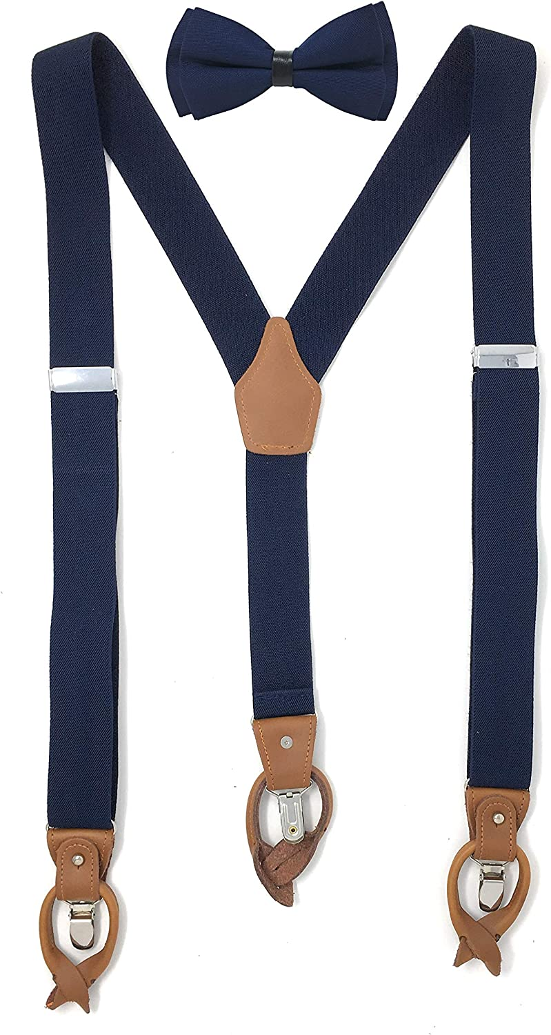 Lawevan Men's Y-shaped PU Leather Elastic Straps 3 Clips And Button Suspenders With Thistle of Semi-Butterfly Bow-tie