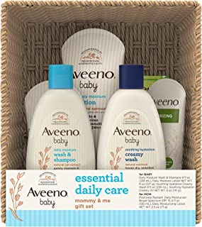 Aveeno Baby Essential Daily Care Baby & Mommy Gift Set featuring a Variety of Skin Care and Bath Products to Nourish Baby ...