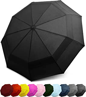 EEZ-Y Compact Travel Umbrella with Windproof Double Canopy Construction - Auto Open and Close Button