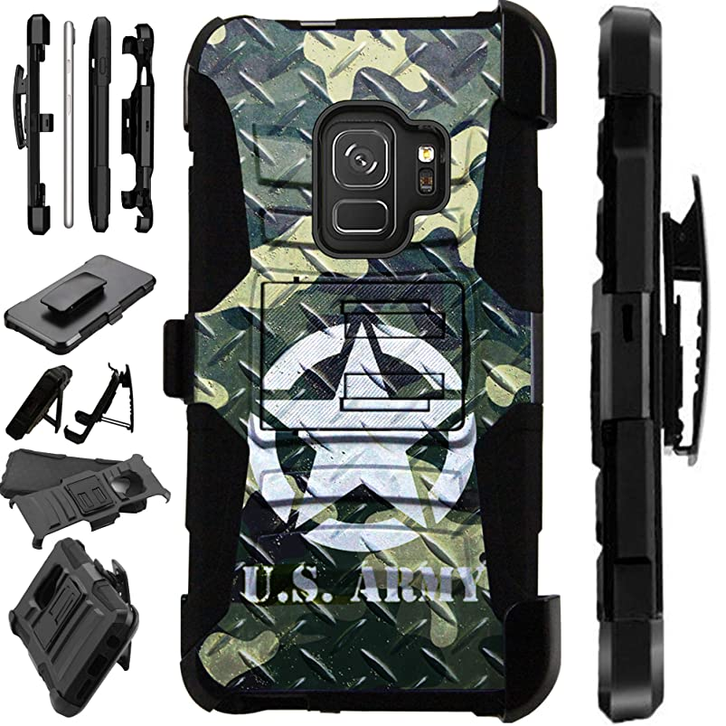 for Samsung Galaxy S9 Plus Case Armor Hybrid Silicone Cover Stand LuxGuard Holster (US Army Crosshatch) pimkvhxm215740