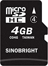 SINOBRIGHT 4GB Micro SD Card SDHC 4G TF Memory Card Class 4 with SD Adapter