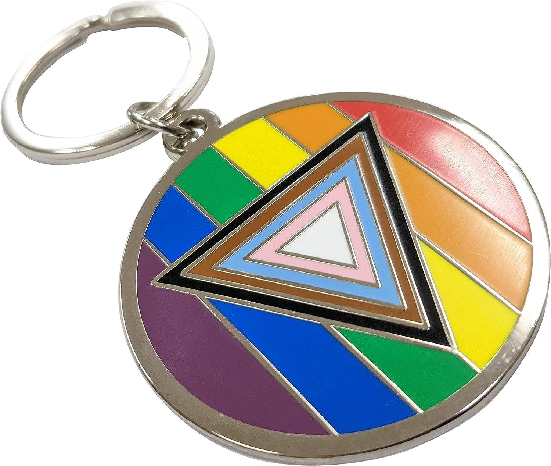Safe Space Progress Pride Flag LGBTQ POC Transgender Flag - 1.75 inch Enamel Keychain with Keyring