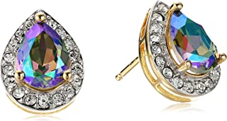 Sterling Silver with Yellow Gold Plating Swarovski Paradise Shine Crystal and Clear Crystal Pear Shape Earrings