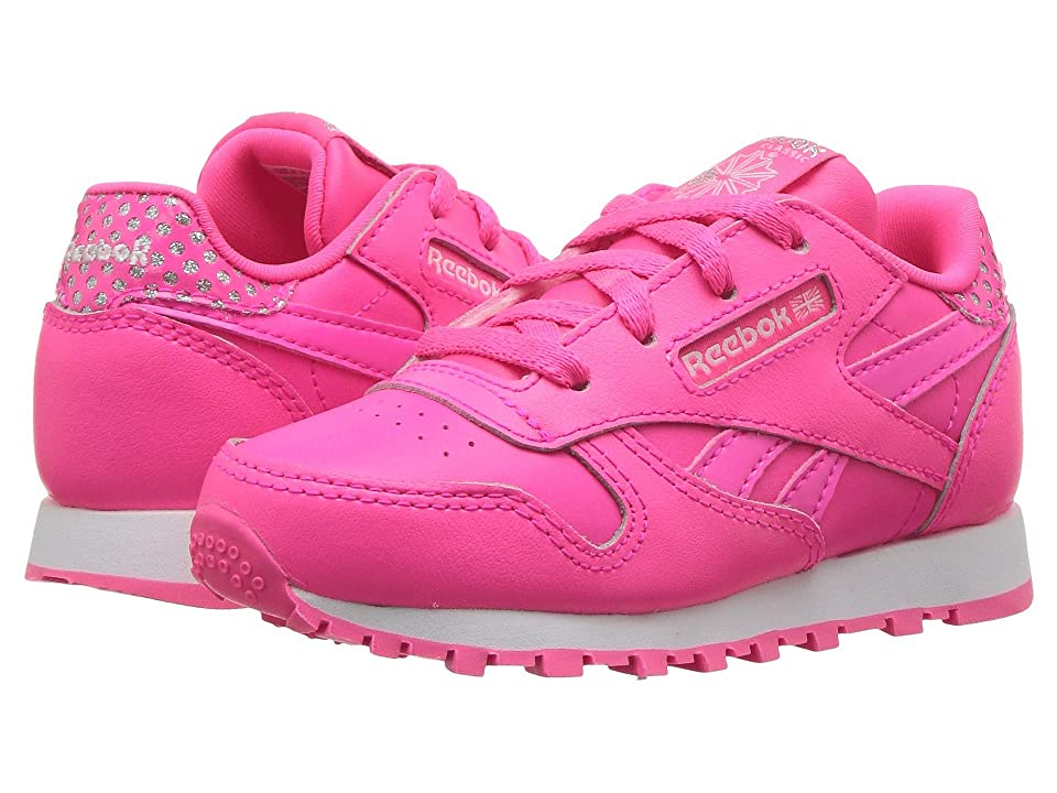 Reebok Kids Classic Leather (Infant/Toddler) (Acid Pink/White) Girls Shoes
