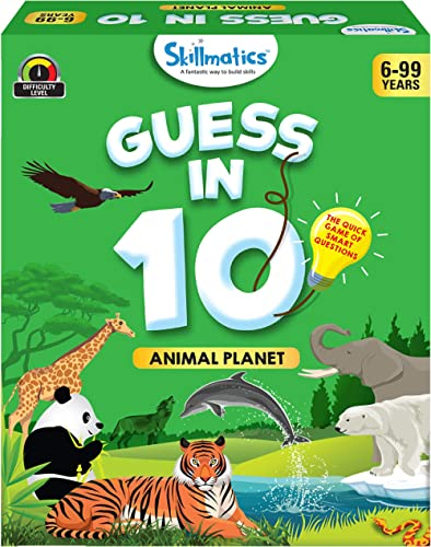 Skillmatics - SKILL34GAP Educational Game : Animal Planet - Guess in 10 (Ages 6-99 Years) | Card Game of Smart Questi...