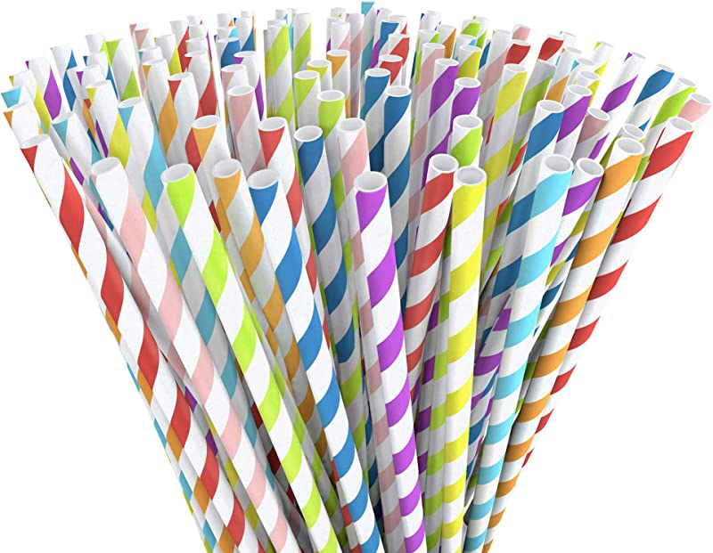 EcoEarth Bulk Paper Straws 200 Pack 100 Biodegradable Drinking Straws 8 Color Eco Friendly Paper Straw Set For Any Party Or Occasion