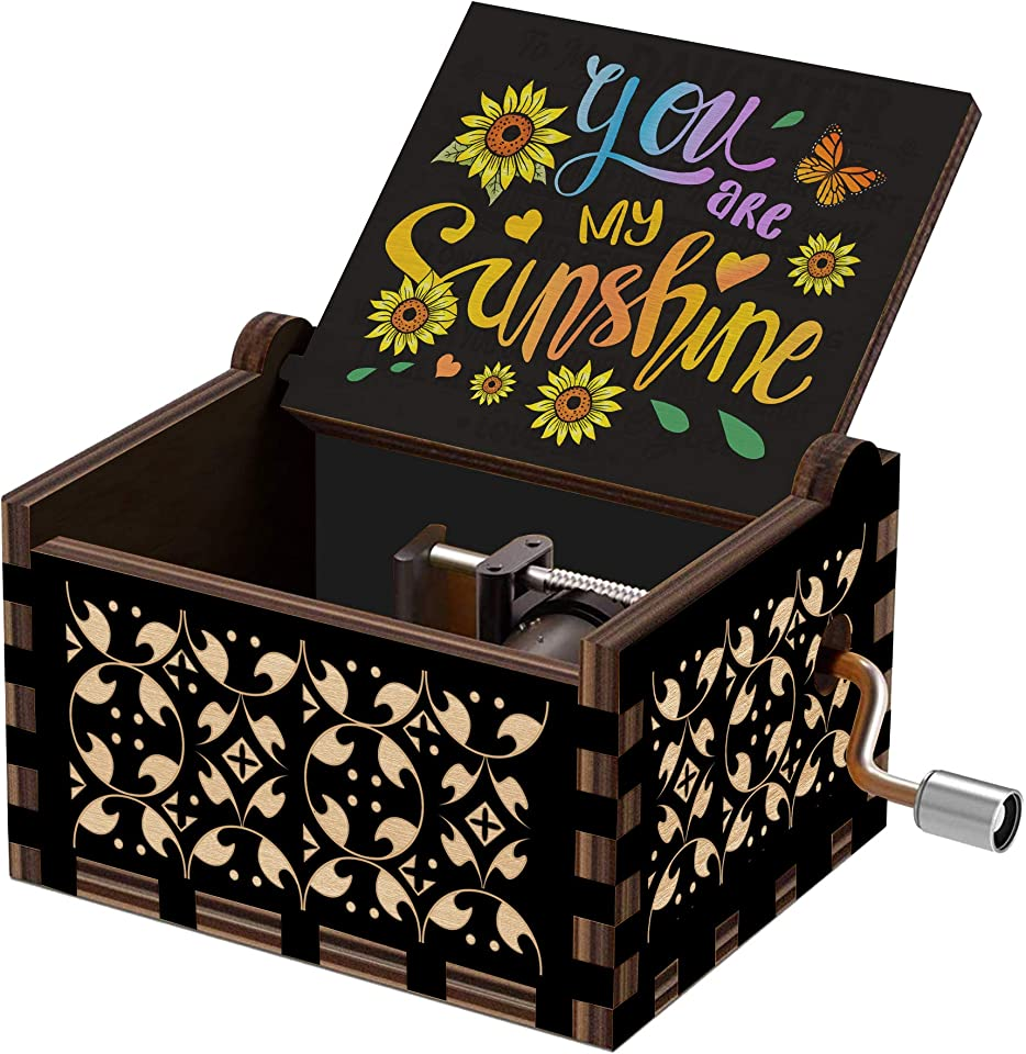 Hexagram You are My Sunshine Wood Music Box, Vintage Laser Engraved Hand Crank Small Personalized Musical Box Gift, Unique Gift for Birthday, Mother's Day, Valentines Day, Christmas, Anniversary Black
