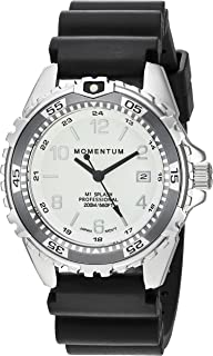 Men & Women's Dive Series Quartz Sports Watch - M1 Splash | Water Resistant, Easy to Read White Luminous Dial, Date, Screw Crown, Stainless Steel Case & Bezel | Black Band | Analog