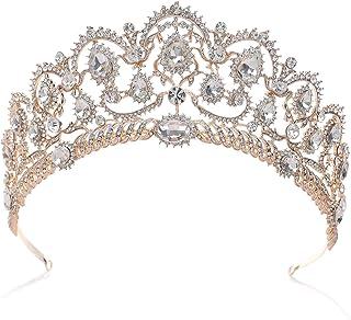 SWEETV Oro Rosa Cristallo Corona Regina - Donna Diadema Sposa Nozze, Corona Principessa per Compleanno, Halloween, Natalizia
