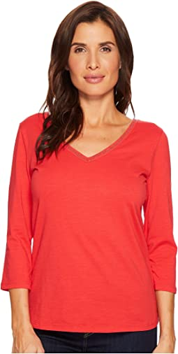 Solid Jersey Slub 3/4 Sleeve Beaded Top