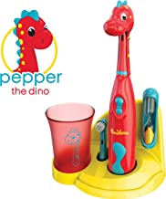 Brusheez® Kids Electric Toothbrush Set (Carnivore Edition) - Battery Operated, Soft Bristles, Easy On/Off, 2 Brush Heads, Animal Cover, Sand Timer, Rinse Cup, and Base - Ages 3+ (Pepper The Dino)