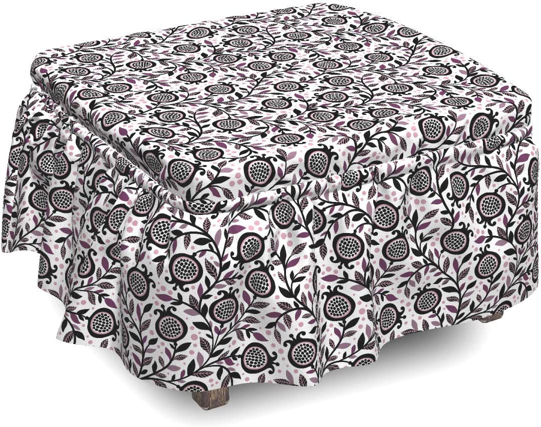 Ambesonne Garden Don't miss the OFFicial store campaign Art Ottoman Cover Pomegranate Piece Floral 2