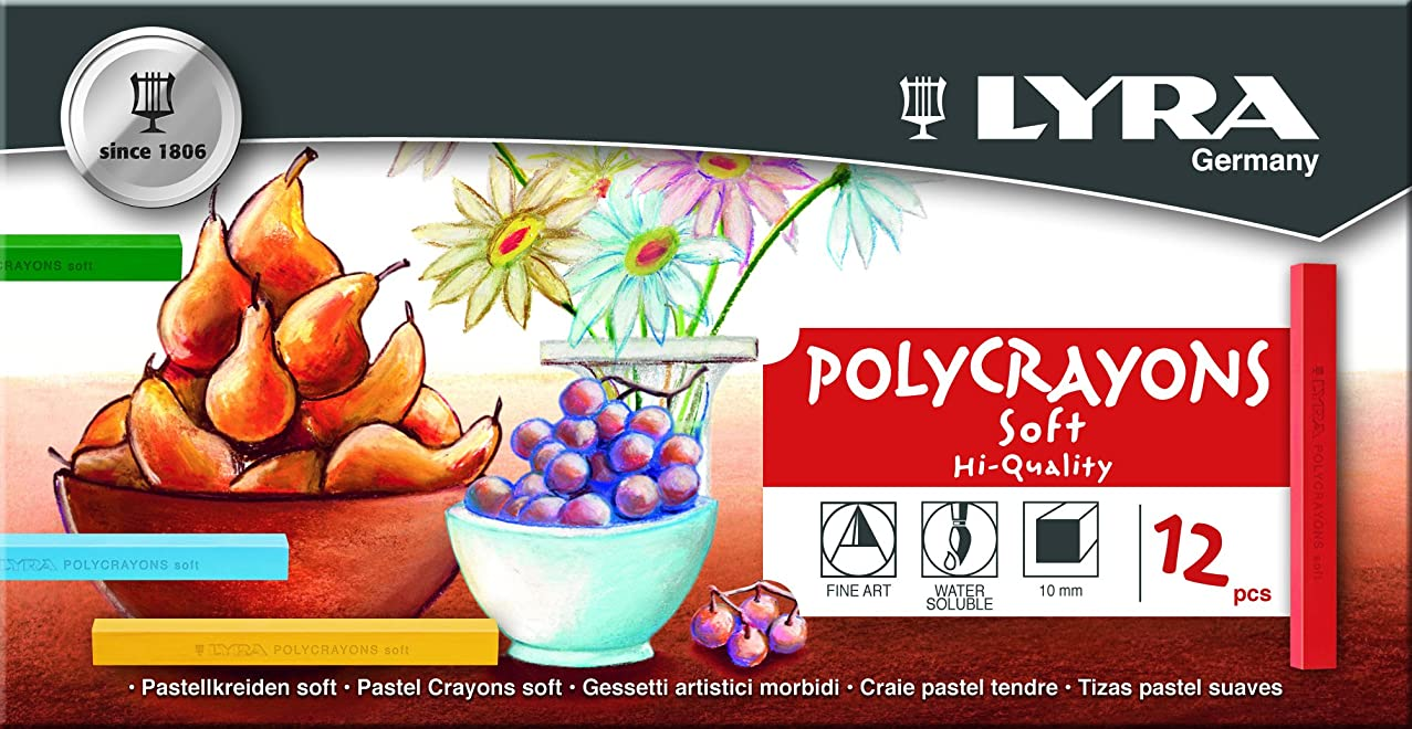 LYRA Polycrayons Soft Pastel Crayons, Set of 12 Crayons, Assorted Colors (5651120)
