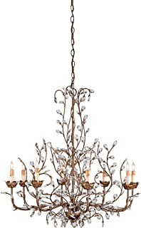 Currey and Company 9884 8 Light Crystal Bud Chandelier, Cupertino Finish