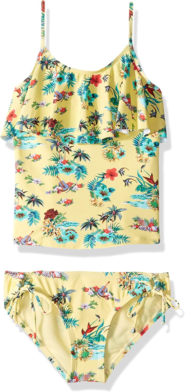 Hobie Girls Big Ruffle Tankini Top and Side Tie Bikini Bottom Swimsuit Set