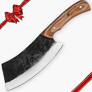 Hobby hatt HH-328 Custom Handmade 25,4 cm, hackkniv 1095 kolstål jongkniv med rutor, fast bladkniv, Pakka trähandtag för j...