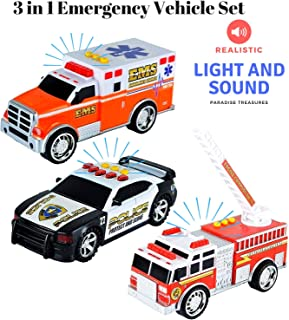 Paradise Treasures 3 in 1 Emergency Vehicle Set - Educational Light and Sound Toy Vehicle Playset with Firetruck,Ambulance Toy and Police Car Toy