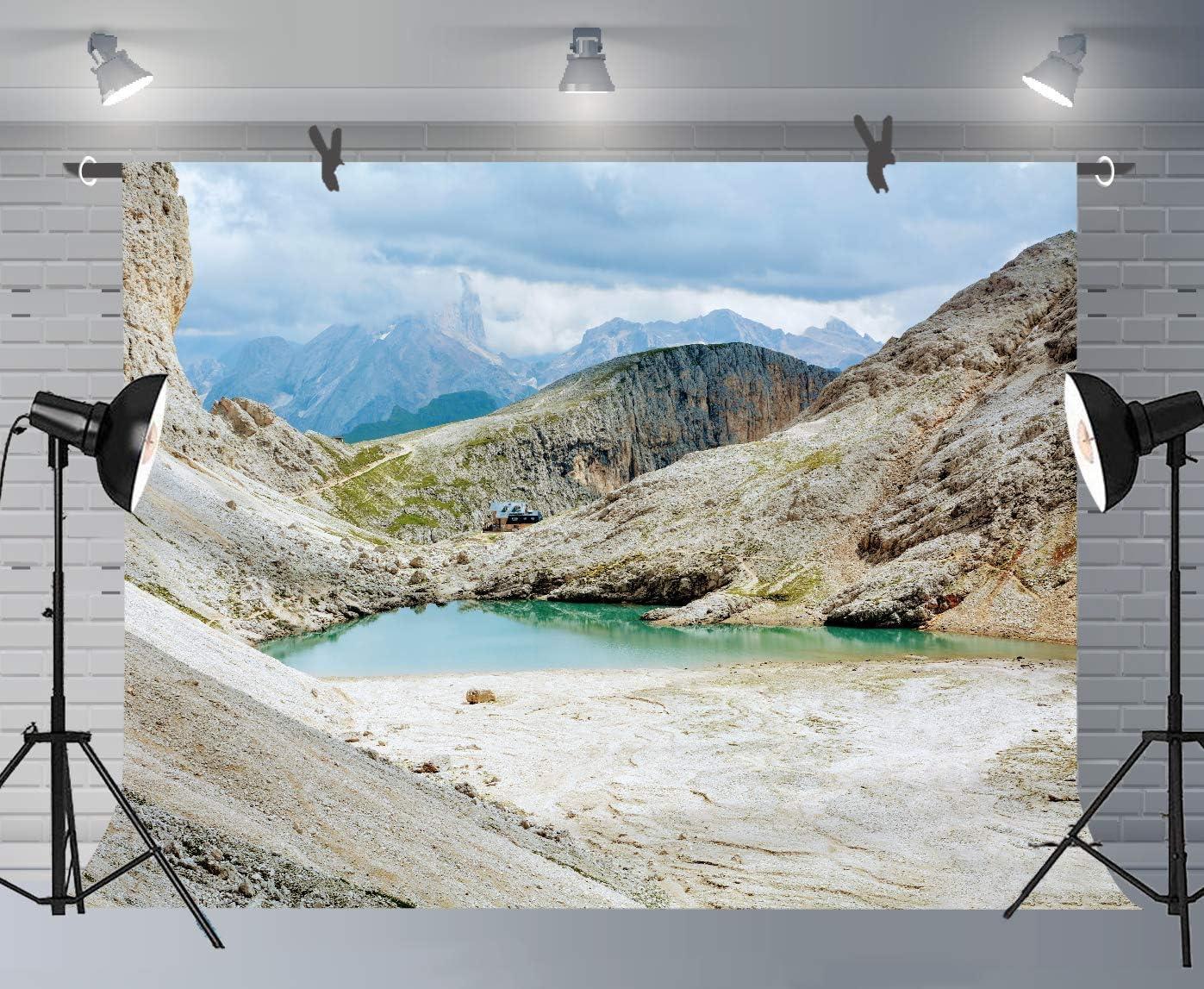 10x6.5ft Mountain and Lake Photography Backdrop Scenery Photo Props FUSK005