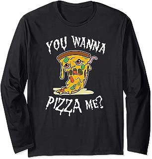 Pizza Zombie You wanna pizza me Pun Halloween food Costume Long Sleeve T-Shirt