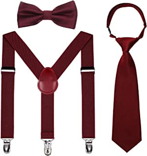 Kids Suspender Bowtie Necktie Sets - Adjustable Elastic...