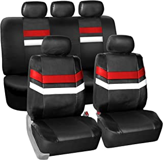FH Group PU006115 Varsity Spirit PU Leather Seat Covers, Airbag & Split Ready, Red/Black Color
