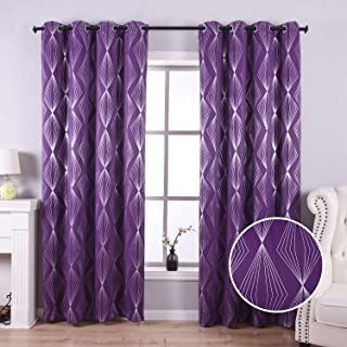 Anjee Grommet Blackout Curtains for Living Room with Foil Print Diamond Pattern, Thermal Insulated Blackout Drapes for Bedroom, 52 x 84 Inches, Purple