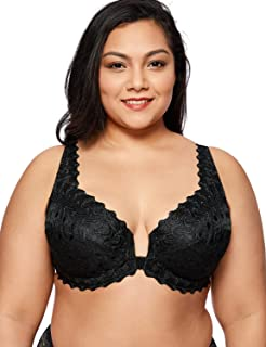 Women's Plus Size Support Unlined Embroidered Lace Front Close Underwired Bra