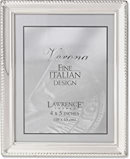 Lawrence Frames Polished Silver Plate 4x5 Picture Frame - Bead Border Design