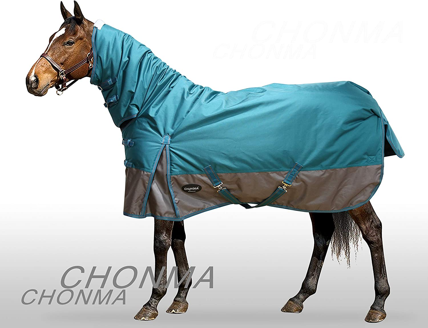 CHONMA 1680D 280G Fill Winter Waterproof Green Fixed Neck Combo Turnout Horse Rugs 6'3
