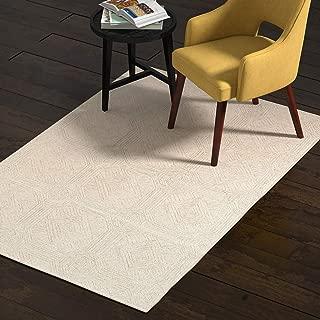 Rivet Geometric Wool Area Rug, 4 x 6 Foot, Grey, Ivory