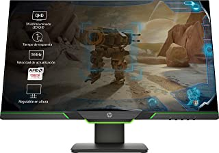 HP 27xq - Monitor gaming con pantalla Quad HD (2560 x 1440 a 60 Hz), TN 1ms, AMD FreeSync, 144 Hz,  Negro/Verde, 27