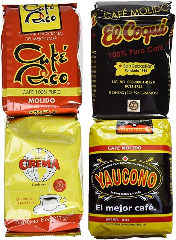 Puerto Rican Variety Pack Ground Coffee 4 Local Favorites In 8 Ounces Bags 2 Lbs Total