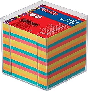 Herlitz 1600253 skrzynka na karteczki 9 x 9 x 9 cm przezroczysta 650 arkuszy kolorowa