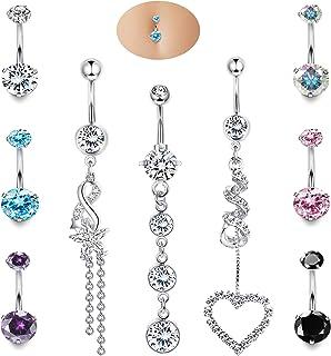 Udalyn Juego de 9 anillos de ombligo para mujer, de acero quirúrgico, con incrustaciones de circonita cúbica colorida, pie...
