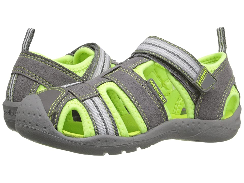 pediped Sahara Flex (Toddler/Little Kid) (Grey/Lime) Boys Shoes