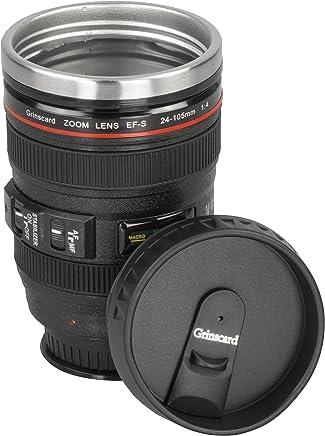 Preisvergleich für Grinscard Kaffeebecher mit Saugnapf und Schraubdeckel - Schwarz Kameraobjektiv Design 0,4l - Thermobecher im Tragebeutel für Unterwegs