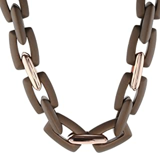 Rose Gold Plated 925 Sterling Silver and Rubber Rectangular Open Link Necklace