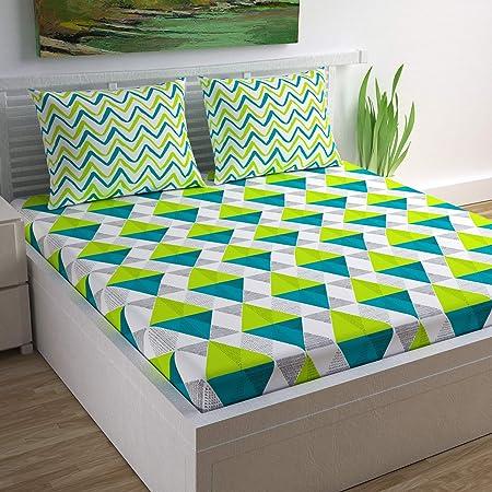 Divine Casa 100% Cotton Geometric Print Mix N Match Bedsheet for Double Bed (Multicolour)