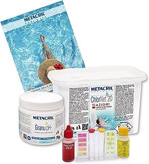 Metacril Kit de iniciación de cloro multiacción + reductor de pH granular. Tratamiento ideal para piscina o hidromasaje (Teuco, jacuzzi, atenuación, Intex, Bestway, etc.).