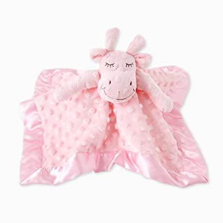 TD Baby Blanket Plush Cow Security Blanket, Soothing Lovey for Boys and Girls, Unisex Stuffed Animal Blankie with Plush Dots and Satin Trim, Pink