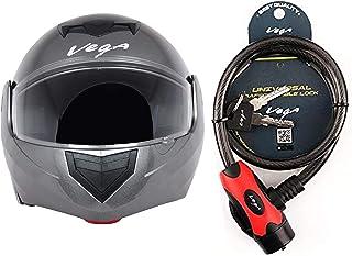 Vega Crux DX Flip-Up Helmet (Anthra, M) and Vega Safety Cable Lock Dull Black Red