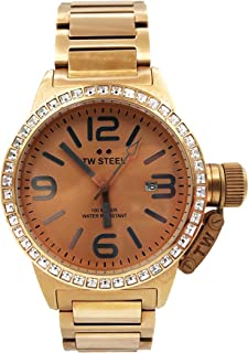 TW Steel Canteen Swarovski Crystal Stainless Steel Plated Rose Gold Watch for Women - Rose Dial Date TW Steel Watch Womens - 40mm Large Face Ladies Watch TW305