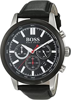 1513191 Leather Mens Watch - Black Dial44; Chronograph