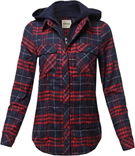Awesome21 Women's Casual Hooded Flannel Plaid Shirt