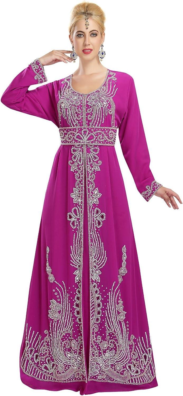 Beautiful Silver Beaded Embroidery Dubai Caftan For Arabian Women 5848